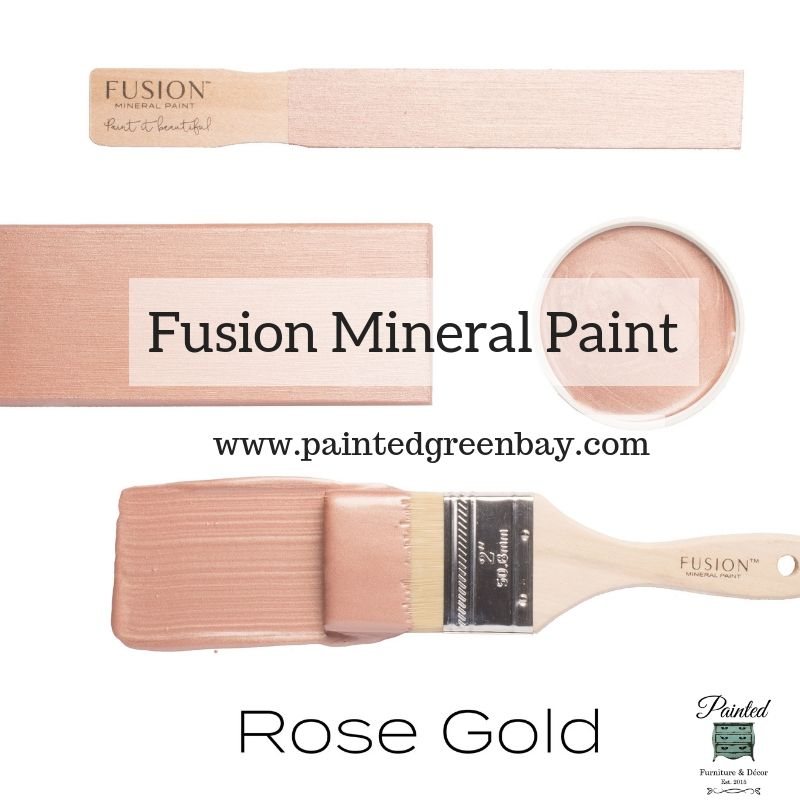 Fusion Mineral Metallic Paint  Rose Gold is part of Gold painted furniture, Metallic painted furniture, Rose gold painting, Metallic painted furniture diy, Rose gold furniture, Painting furniture diy - New Color!!! We finally have a Rose Gold in our metallic collection  This metallic paint is selfleveling and comes in 250ml containers or 37 ml tester size  Fusion is zero VOC paint created for exceptional coverage, stunning color and superior durability  To learn more about Fusion products, please set up an appointment for oneonone guidance …