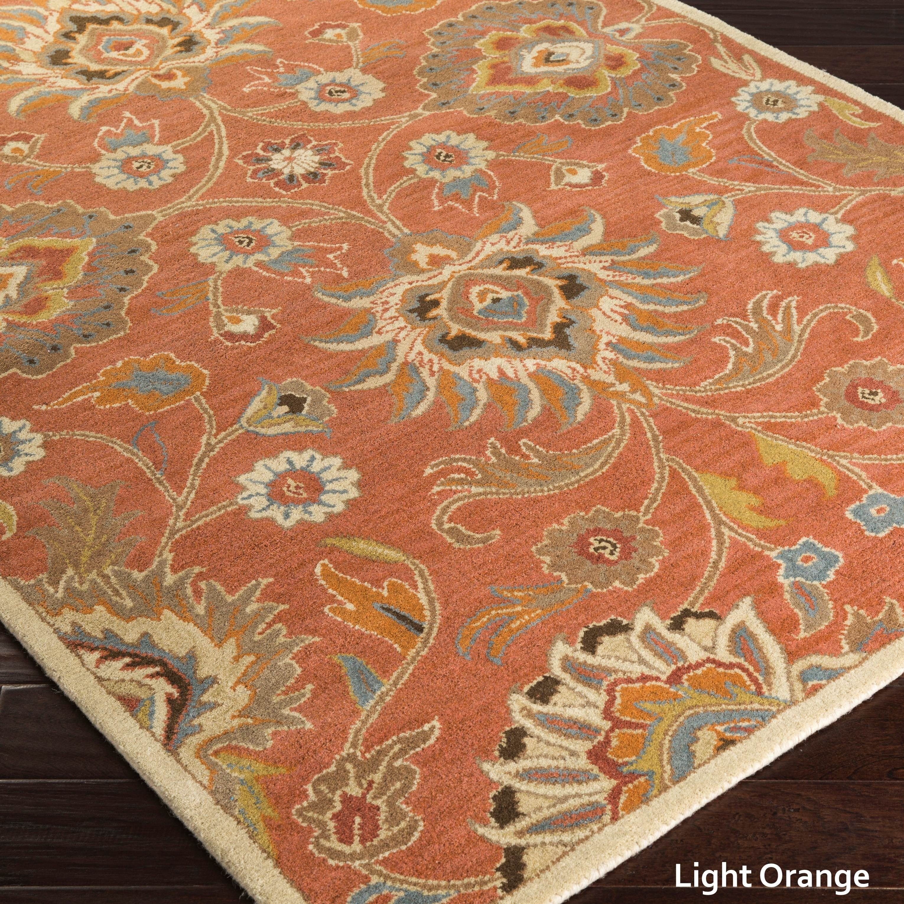 Hand Tufted Patchway Floral Wool Area Rug 8 X 11 Light Orange