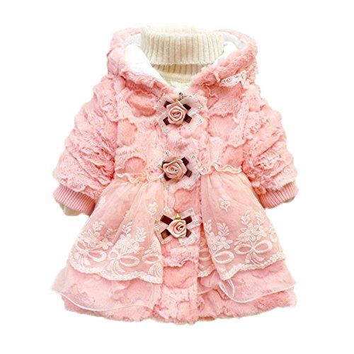 Kids Girls Faux Fur Jacket Coat Lapel Fleece Lined Winter Warm Lace Outwear Snowsuit