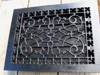 Antique Ornate Cast Iron Wall Floor Heating Heat Register Grate