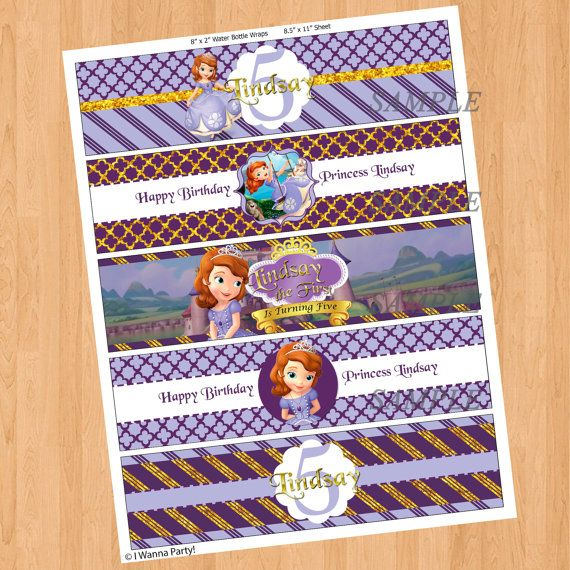 Sofia The First Bottle Labels Princess Sofia Water by IWannaParty, $4.00