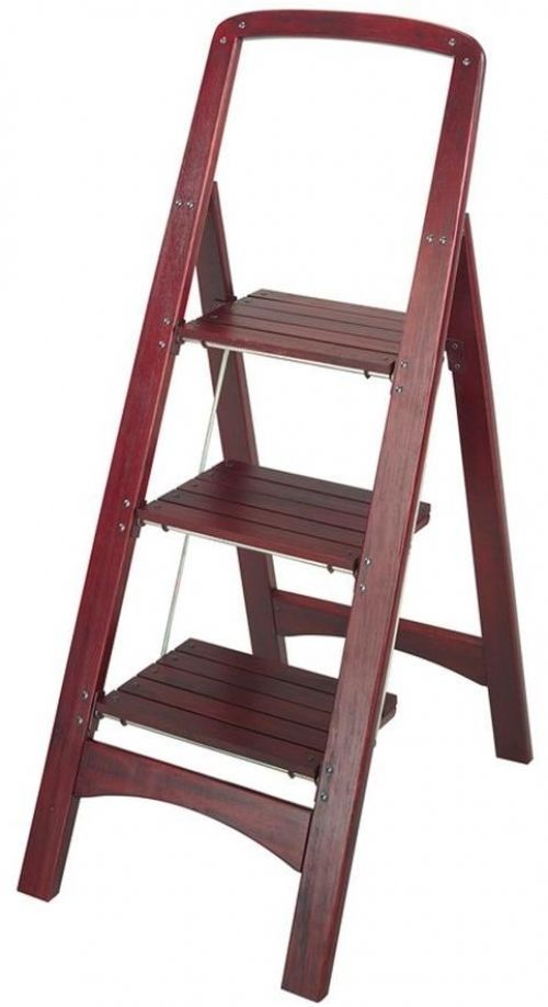 Cosco Rockford 3 Step Mahogany Wooden Folding Stylish Home Step Stool  Ladder #CoscoHomeOfficeProducts Closet