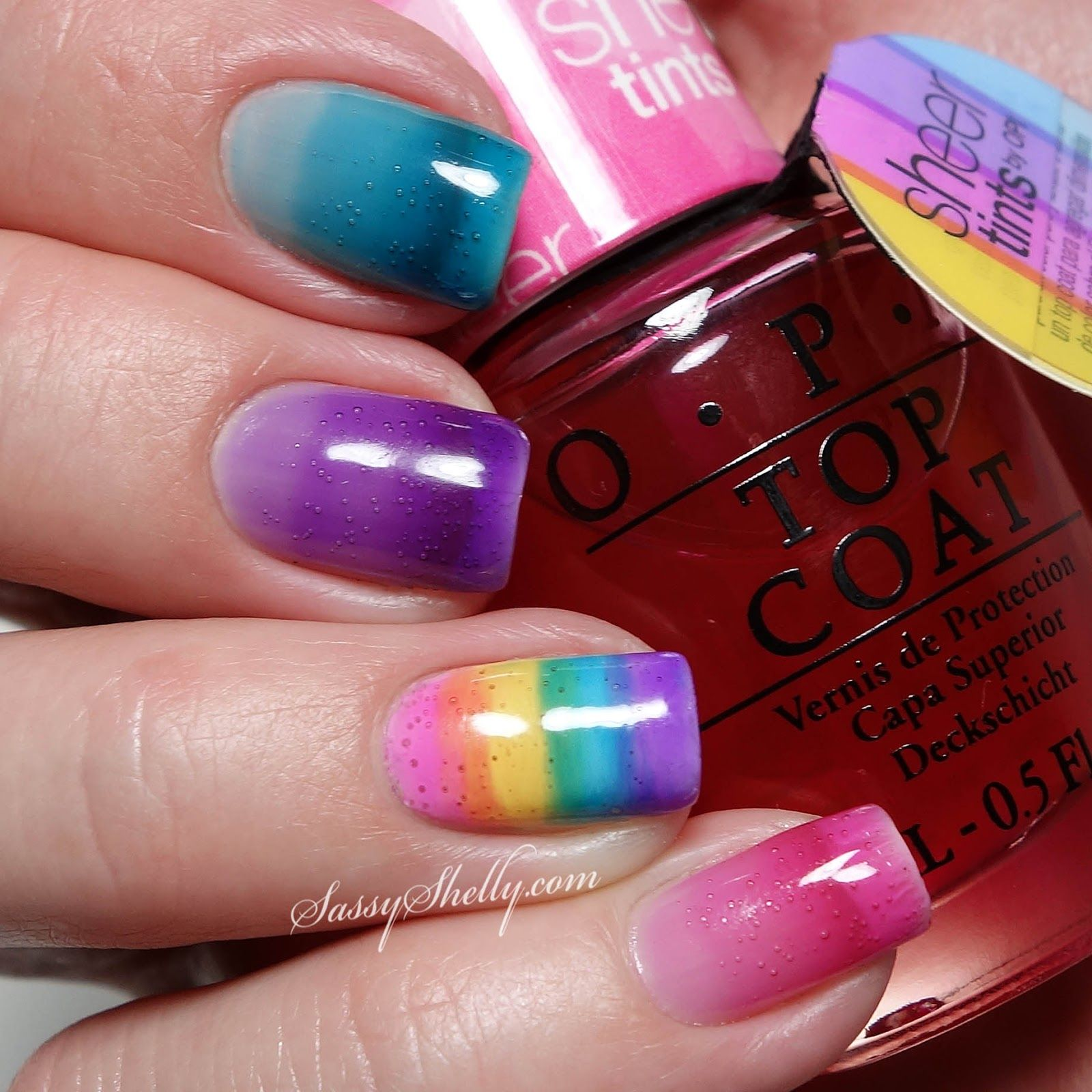 Photo of OPI Sheer Tints ~ Syrup Mani and Layered Rainbow accent nail | Sassy Shelly