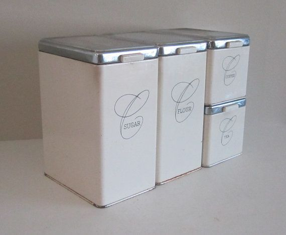 Elegant 1950s Ransburg White Metal Canister Set   Great Mid Century Kitchen Decor  By Cozycottagechic,