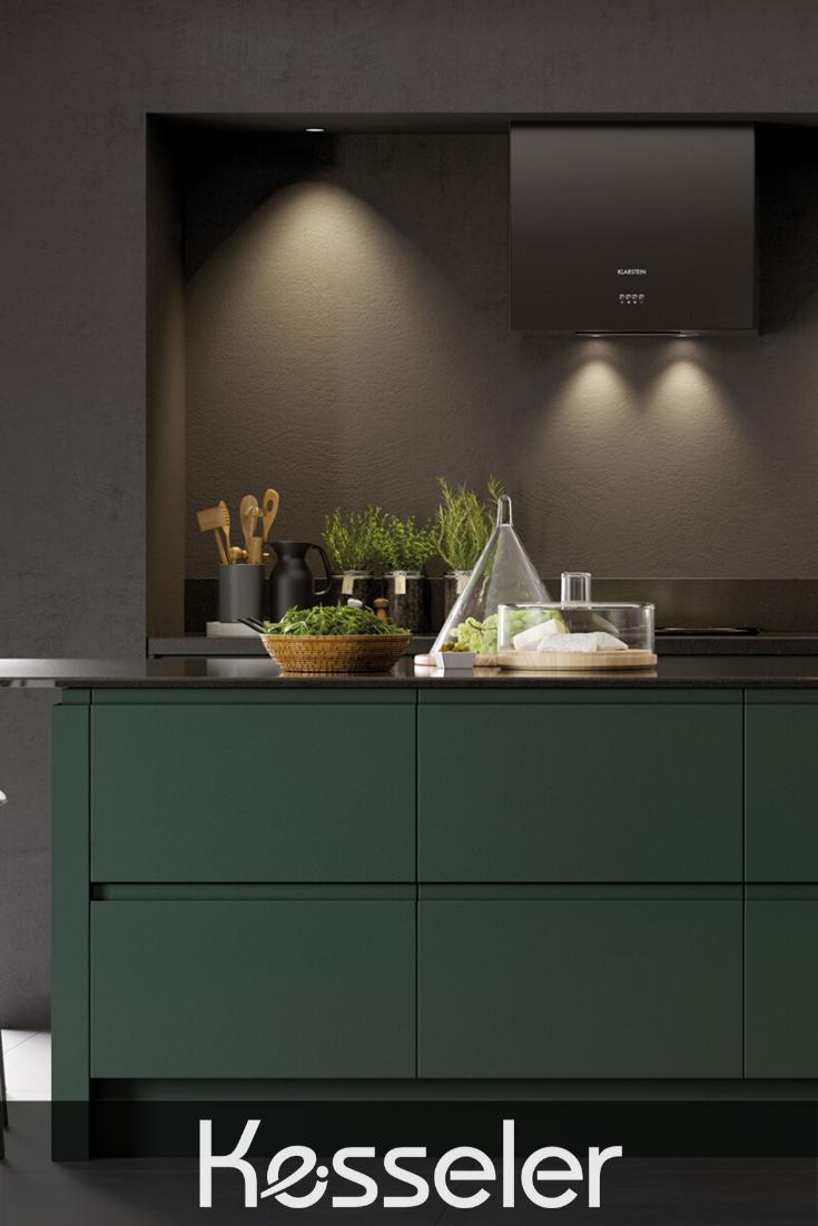Best Stunning Matt Green Handleless Kitchen With Dark Grey 400 x 300