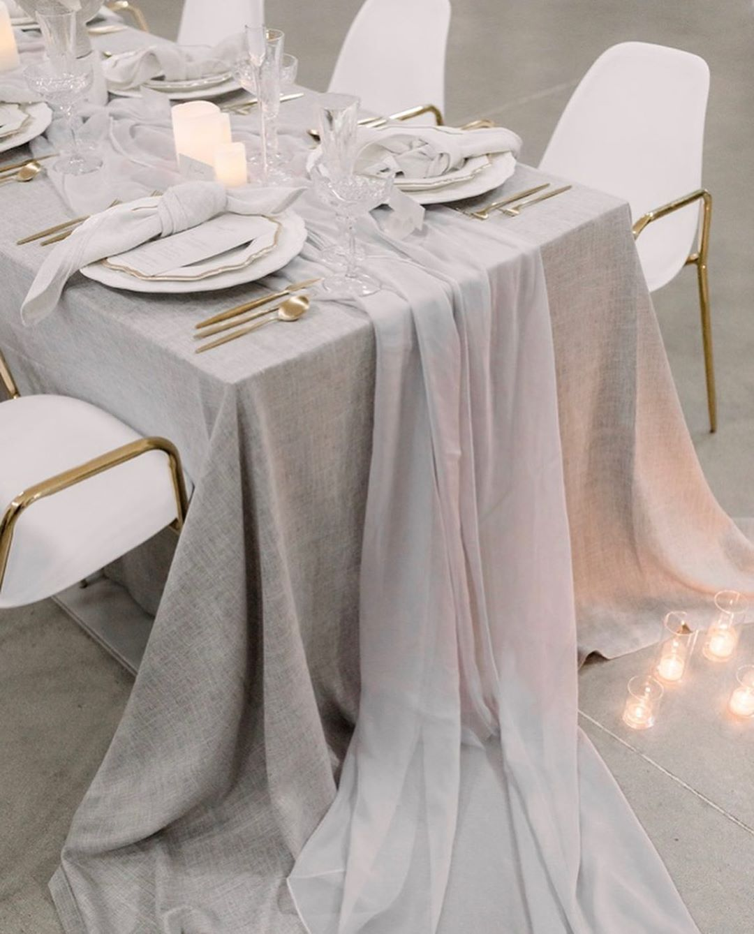 Grey Table Linen And Grey Chiffon Table Runner Classic Elegance In 2020 Wedding Table Linens Grey Wedding Decor Linen Table Settings