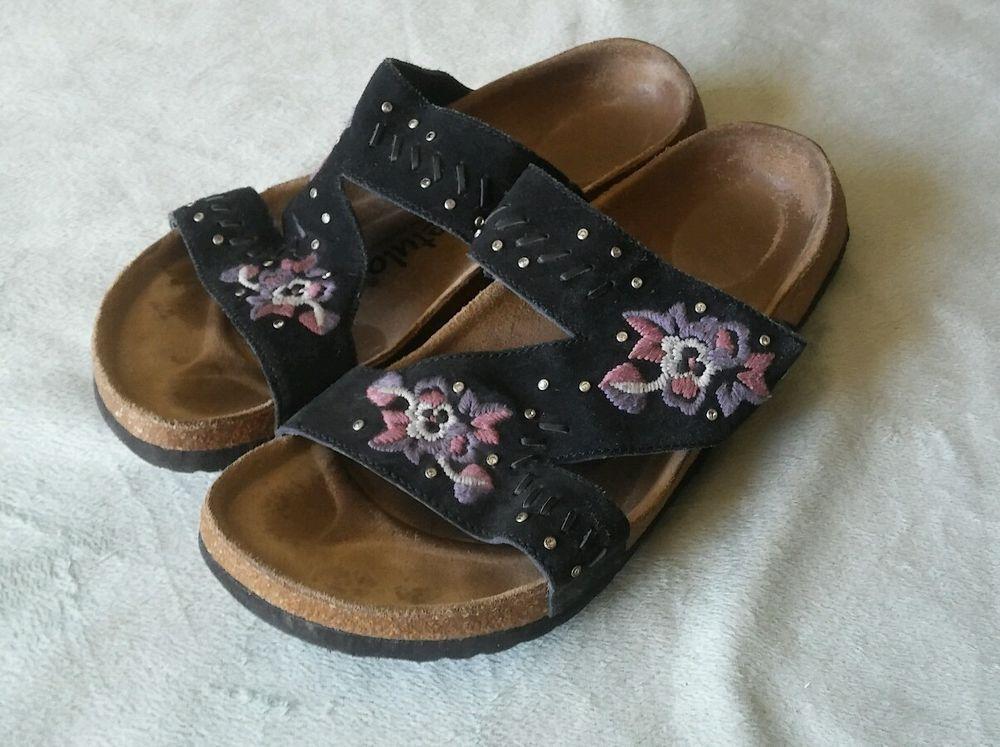 df4bbcf19667 Birkenstock Betula Zara Black Suede Sandal Size 38 Floral rhinestones   Betula  Zara