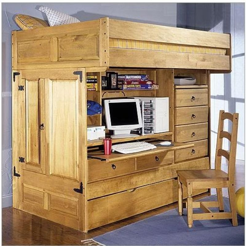 loft bed Kids Twin Bunk Bed With Desk, Rustic bunk beds