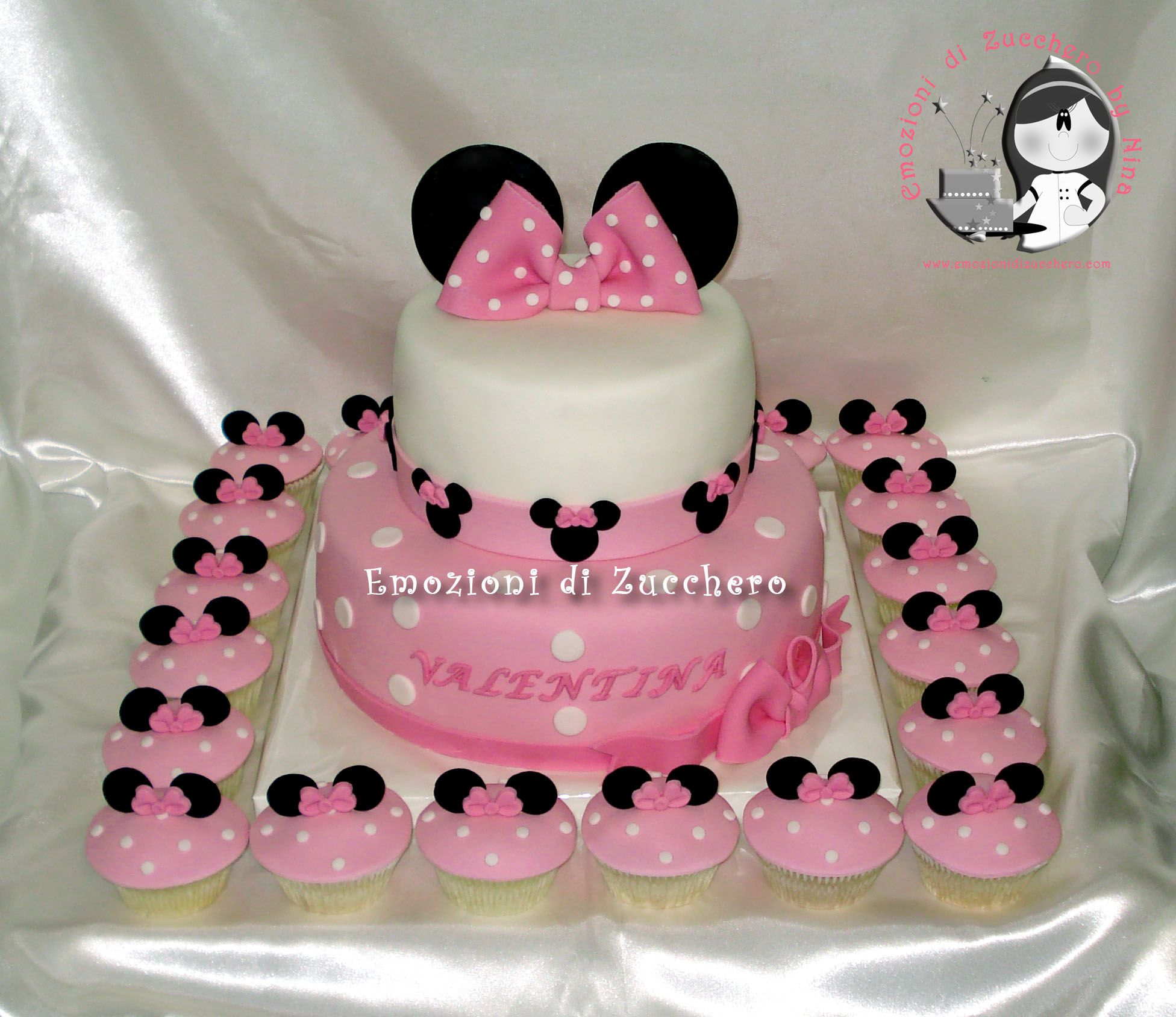 Awesome Minnie Pink Cake And Cupcakes Minnie Cake Minnie Cupcakes Pink Personalised Birthday Cards Veneteletsinfo