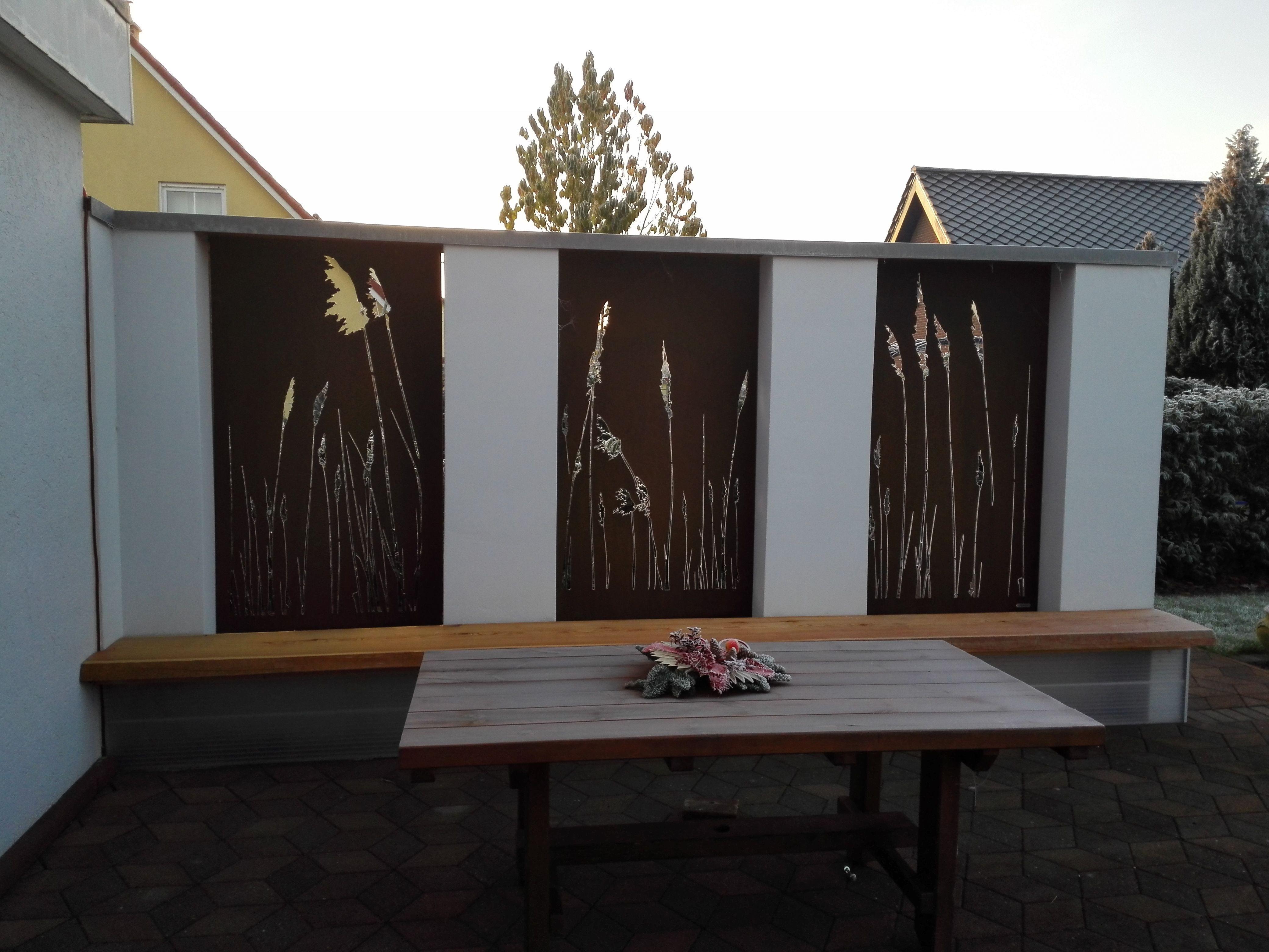 Cortenstahl als Sichtschutz im Garten Sichtschutz garten