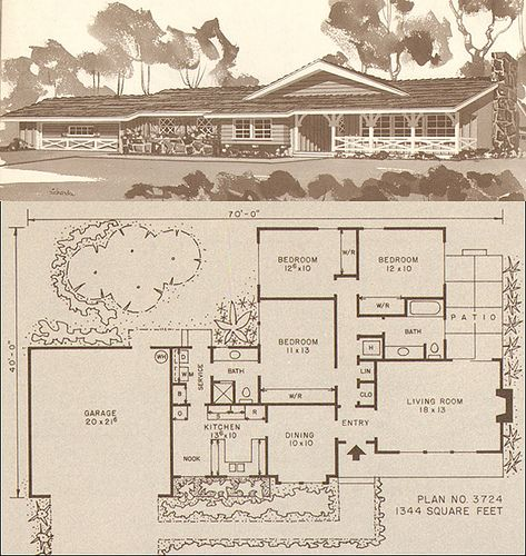 Rikki nyman ranch modern ranch and small house plans for Vintage ranch house plans