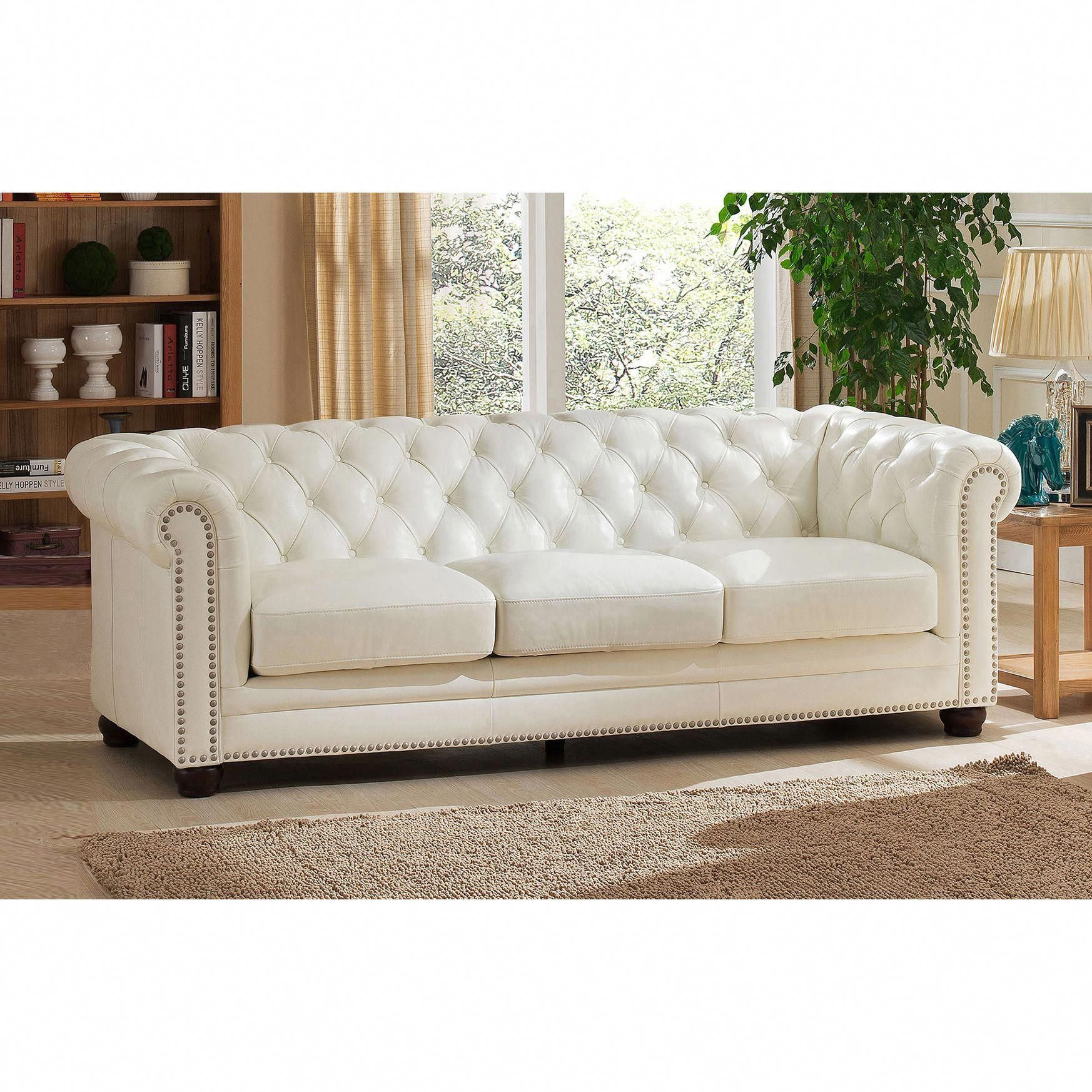 Nashville White Genuine Leather Chesterfield Sofa With Feather Down Seating Coja In 2020 Genuine Leather Sofa Best Leather Sofa Sofa Deals