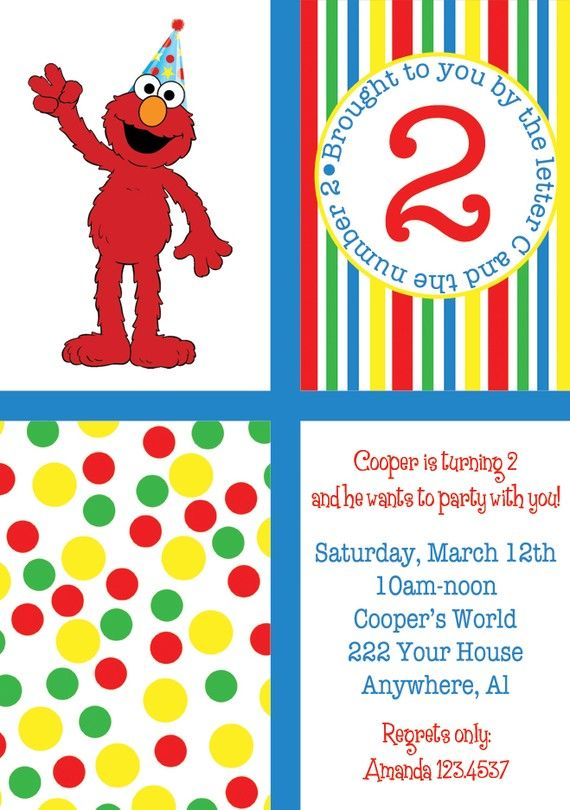 Print Your Own Invitations Elmo Birthday Party Invitation