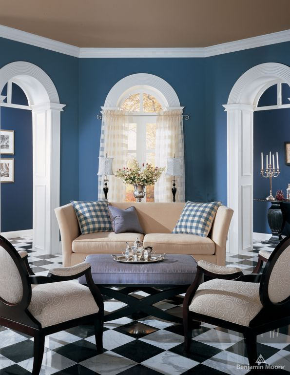 Living RoomClassic Style Room Decor With Cream Loveseat And Blue Wall
