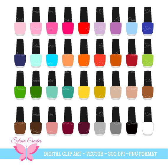 Nail Polish Clipart Set Digital Clipart Nail Color Nail Salon