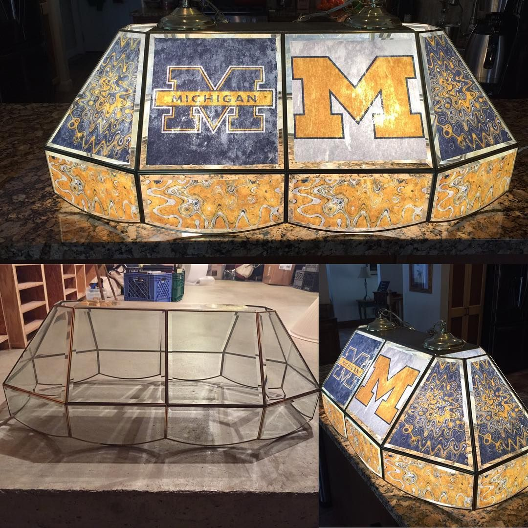 Elegant Custom Pool Table #llewmination (lower Left Is The Before). Obviously I  Would Have Preferred To Make A Notre Dame Light (#goirish) But I Suppose  The ...