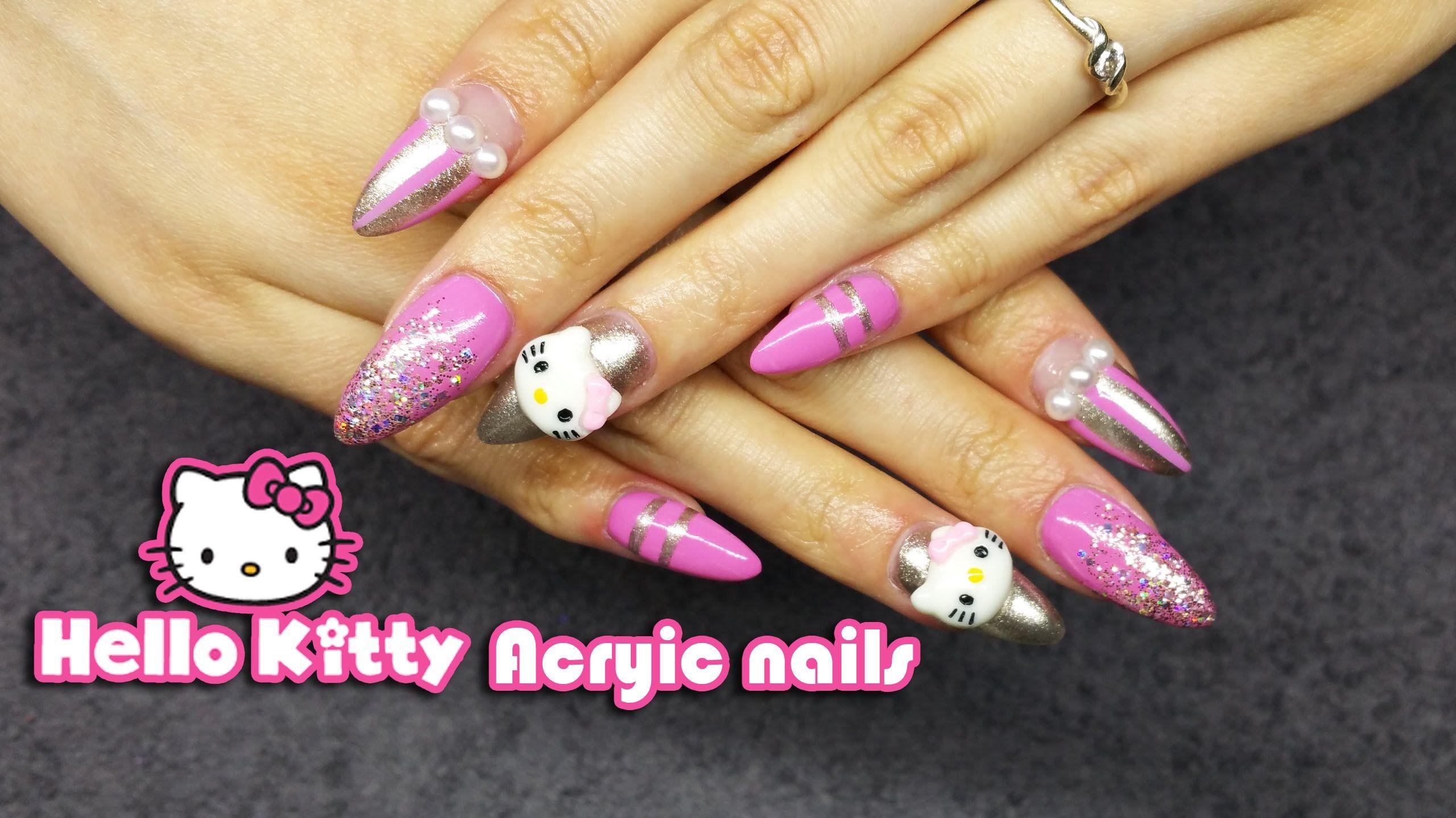 How To Hello Kitty Acrylic Nail Art Cute Design