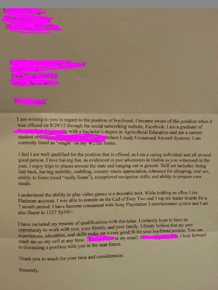 Asked for boyfriend on facebook as a joke Got this under my dorm - boyfriend thank you letter sample