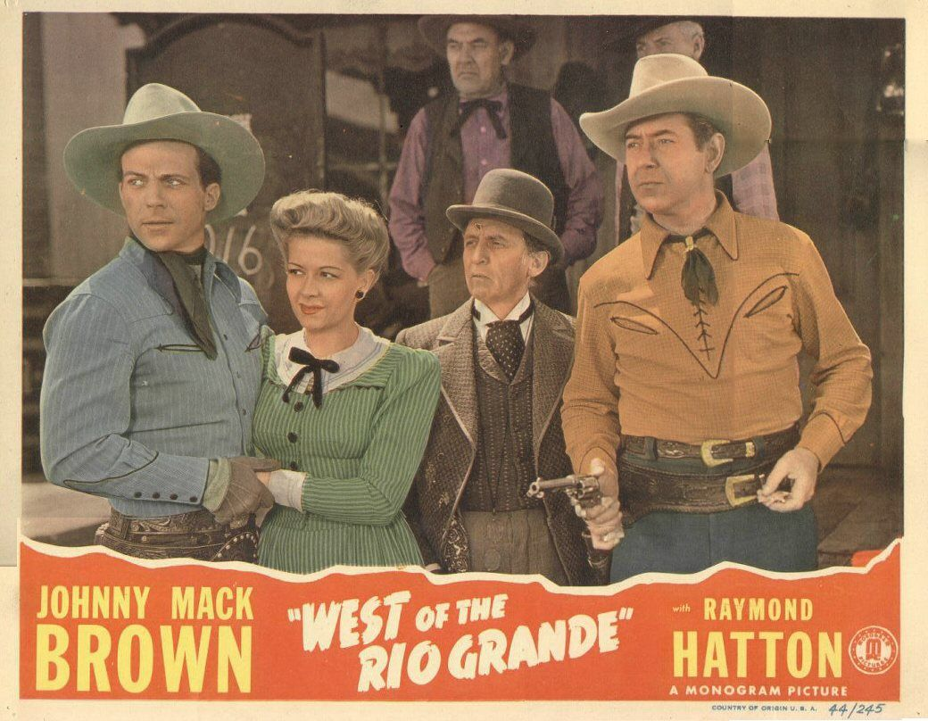 Dennis Moore, Christine, Raymond Hatton, and Johnny Mack Brown in  1944's WEST OF THE RIO GRANDE