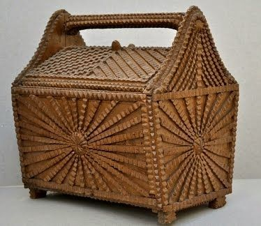 beautifully decorated Tramp Art sewing box
