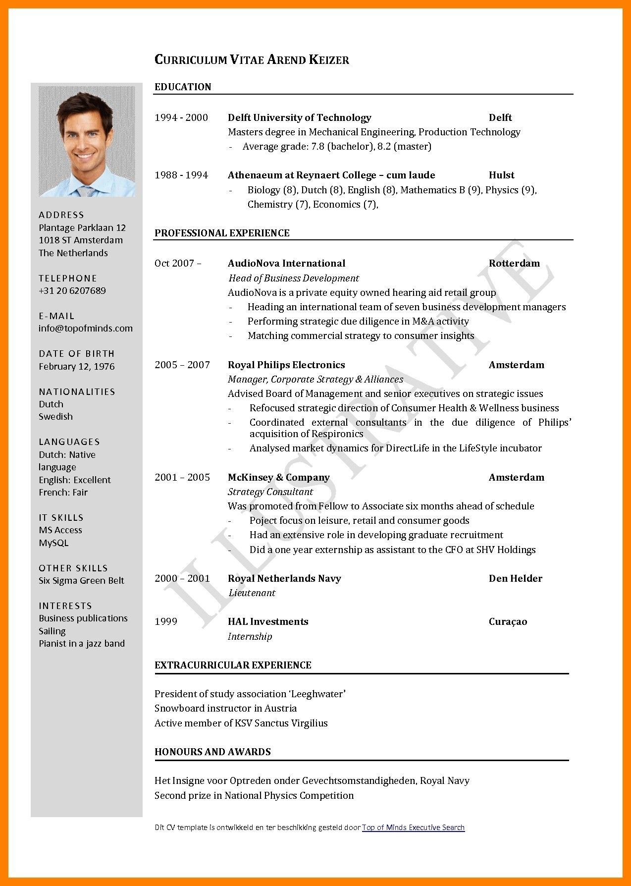 International Standards Resume Format Sample resume