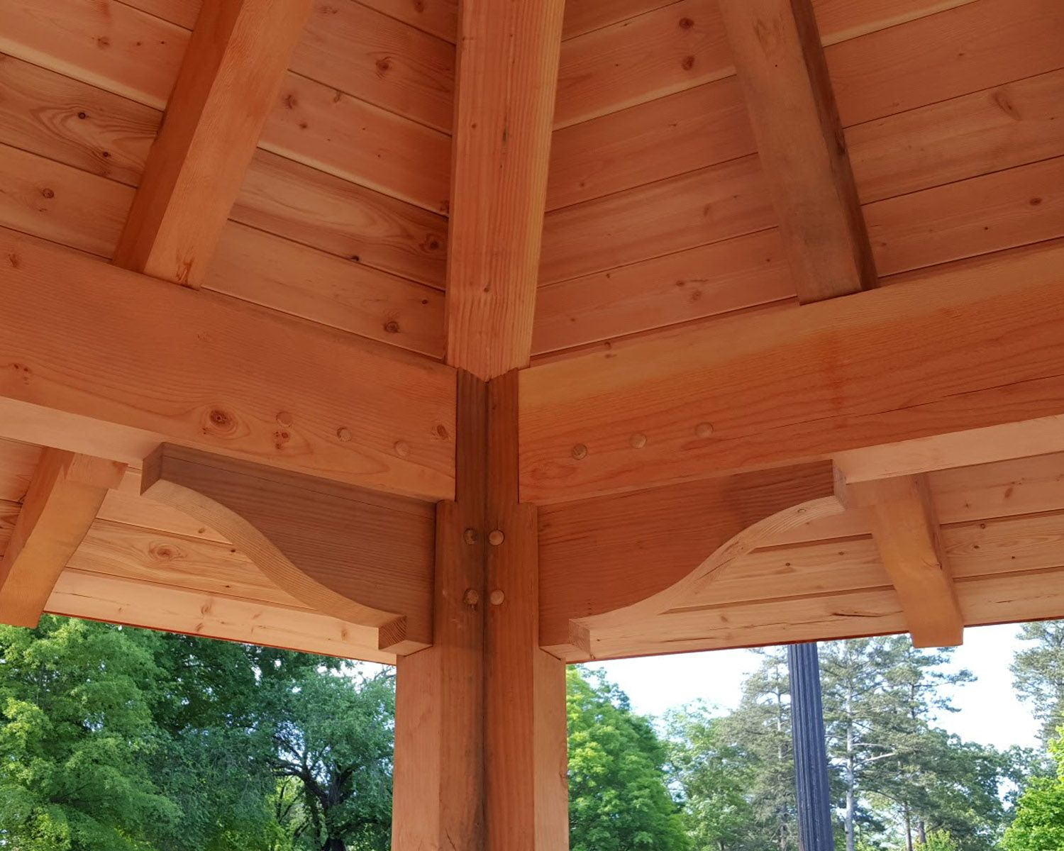 Heavy timber pavilion douglas fir posts beams rafters for T g roof decking
