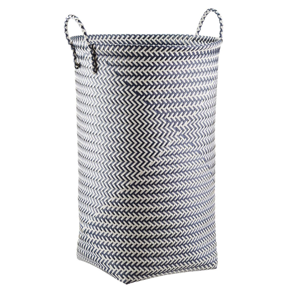 Slate Blue White Strapping Laundry Hamper Laundry Hamper