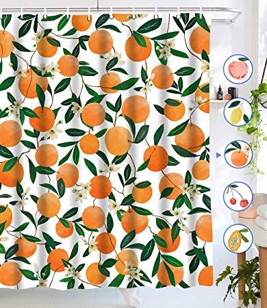 Amazon Com Lifeel Orange Shower Curtains Allover Fruits Shower