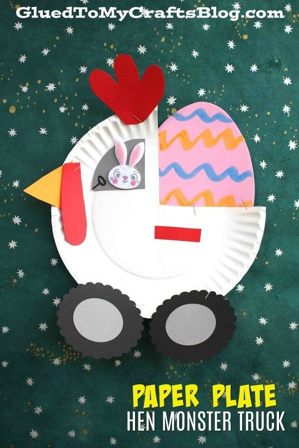 Paper Plate Hen Monster Truck - Kid Craft - Glued To My Crafts