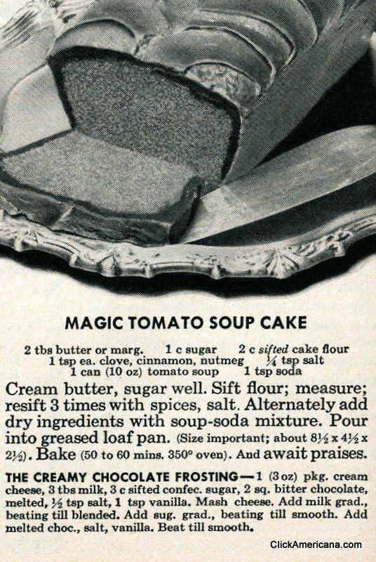 Magic tomato soup cake recipe (1950)