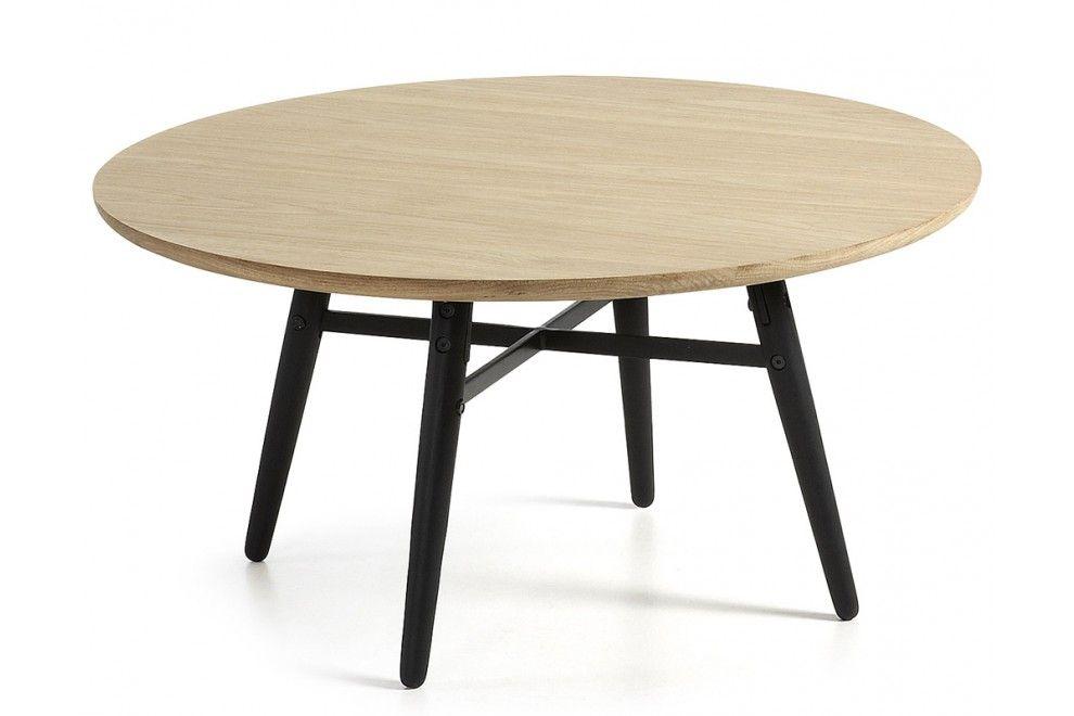 London Table Basse Basics Ronde Plateau Bois Clair Pieds Noirs Table Basse Table Basse Scandinave Table Basse Design Italien
