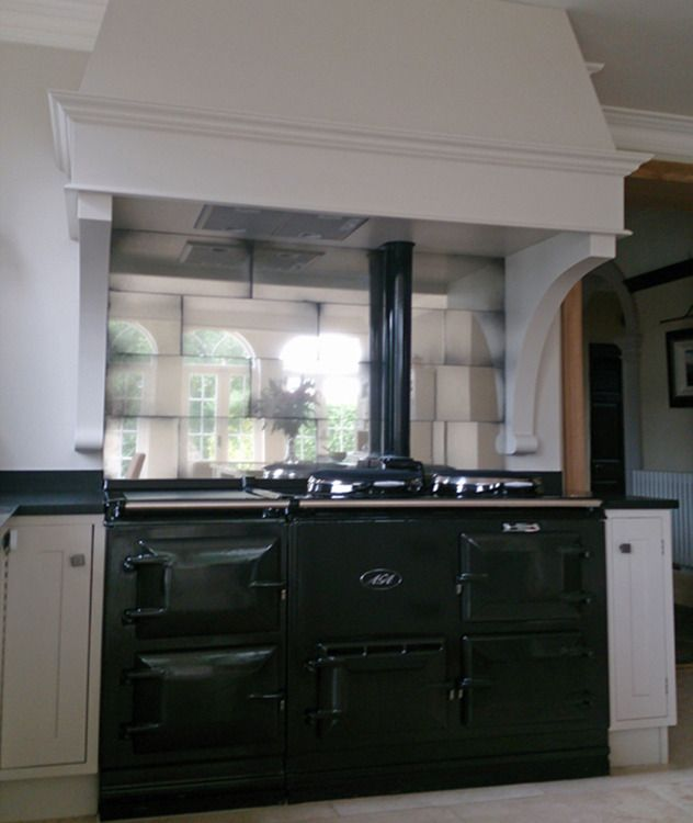 Aga Antique Mirror Tile Splashback Kitchens Pinterest