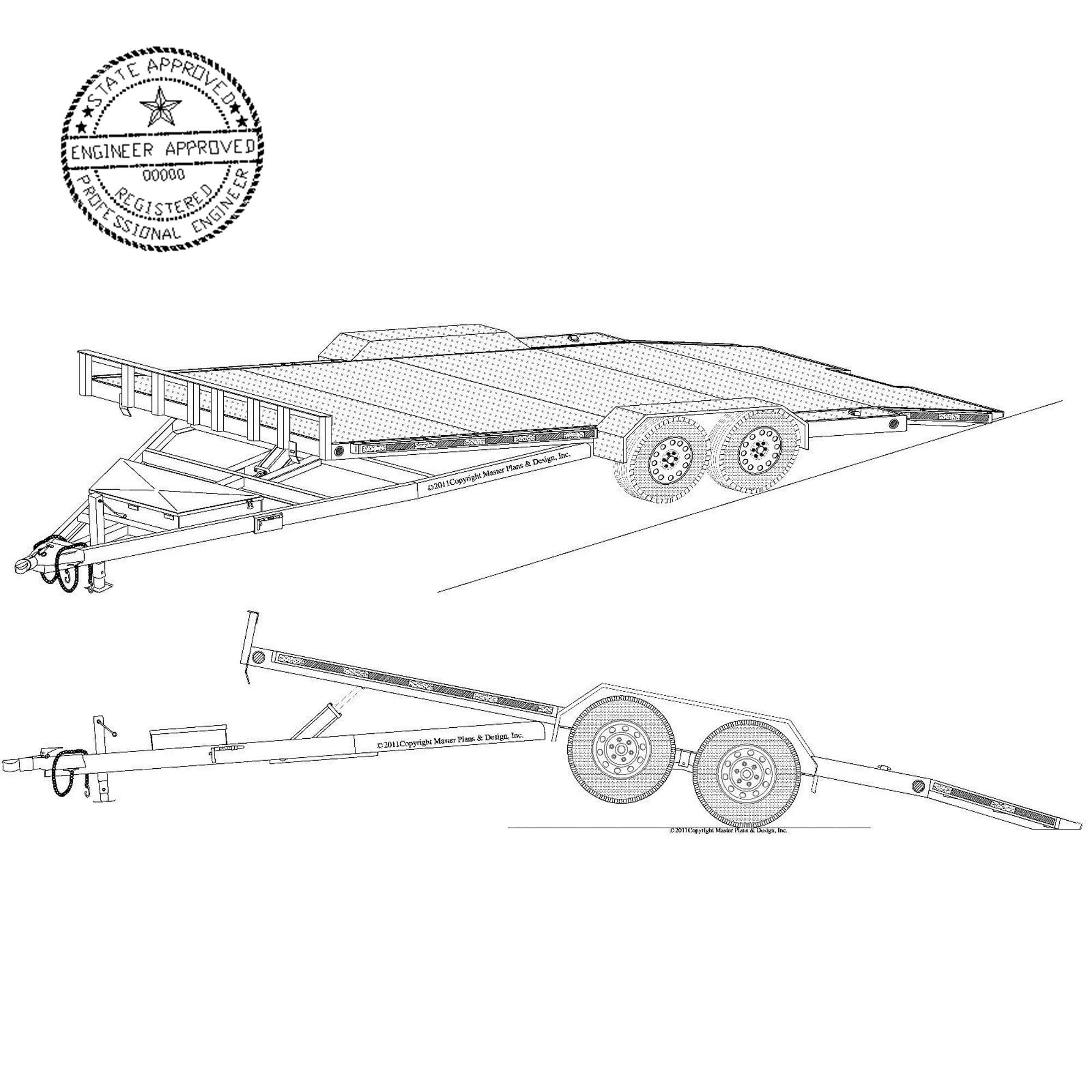 19 x 82 hydraulic car hauler trailer plans blueprints model 18ht