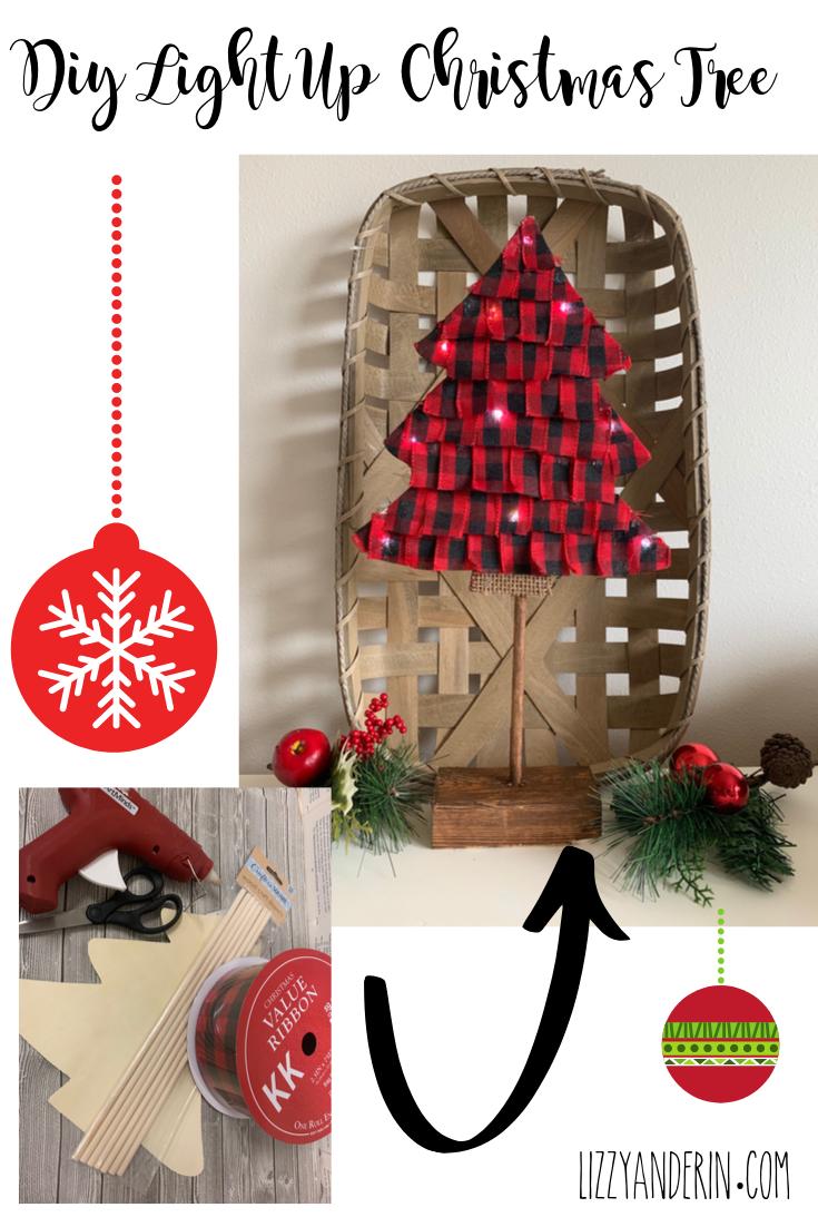 Create your very own Light up Christmas Tree for just a few bucks.  #Christmas #DiyChristmas #Lizzyanderin #Christmasdecor #dollartree #easydiyChristmas