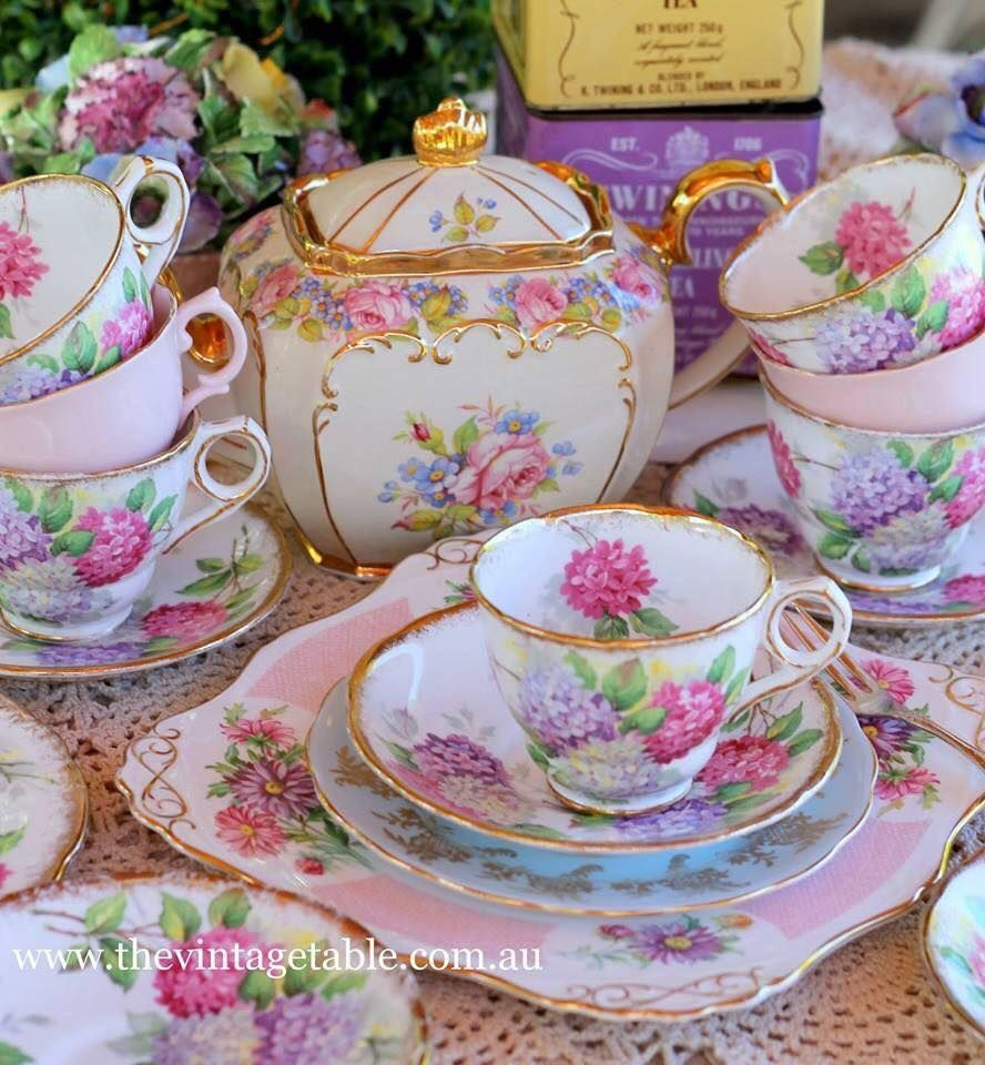 Shabby chic pink rose teapot with pink floral tea cups and - Vajilla shabby chic ...
