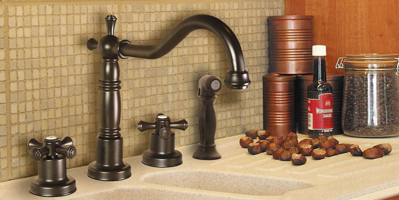 Pesaro Widespread Kitchen Faucet with Side Spray in Oil Rubbed ...