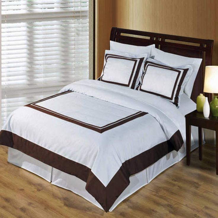 Modern Hotel White Brown Egyptian Cotton Framed Duvet Cover Set Hotel Style Bedding Bed Linen Inspiration Bedding And Curtain Sets