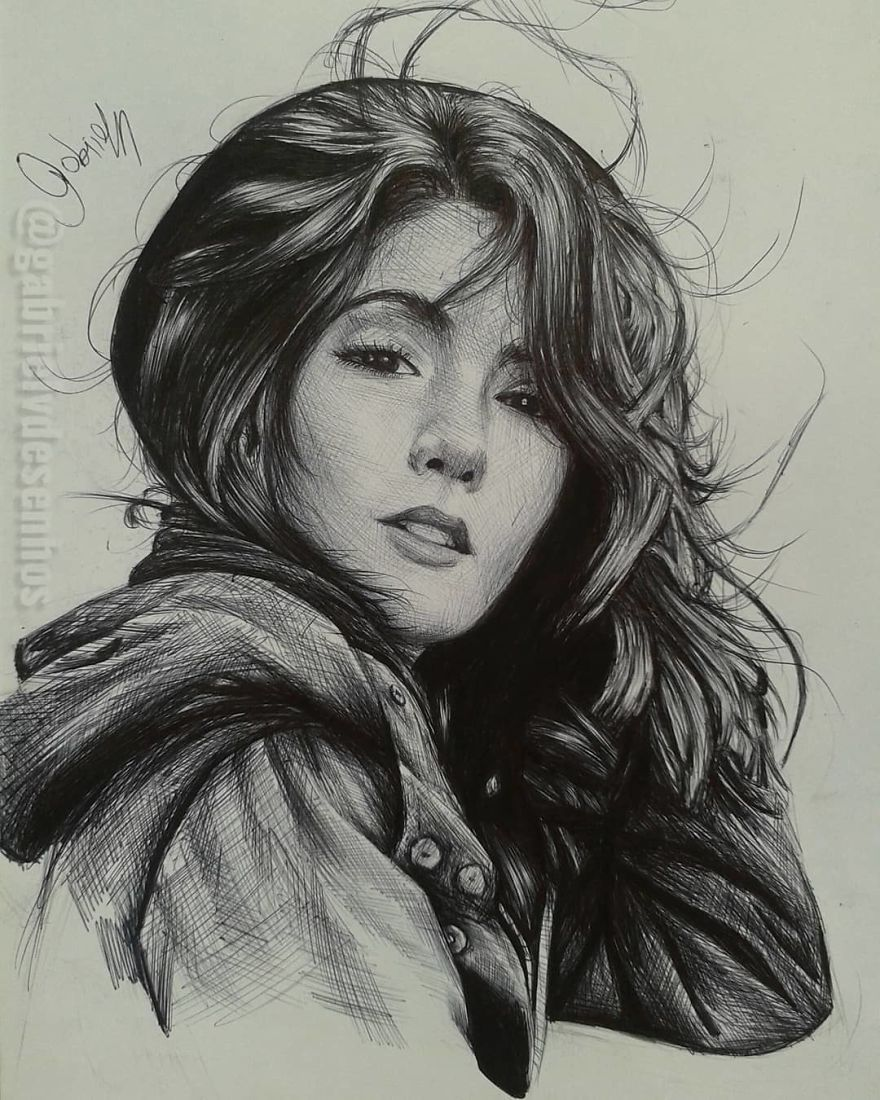 Brazilian Artist Draws Portraits With Only A Ballpoint Pen That Look Extremely Realistic Emotional Drawings Realistic Pencil Drawings Portrait Art