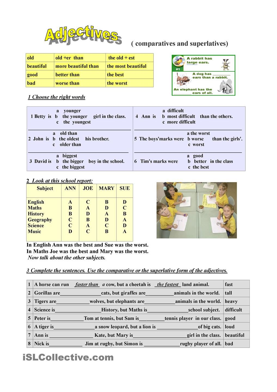 Adjectives (comparatives and superlatives) worksheet - Free ESL printable  worksheets made by teachers