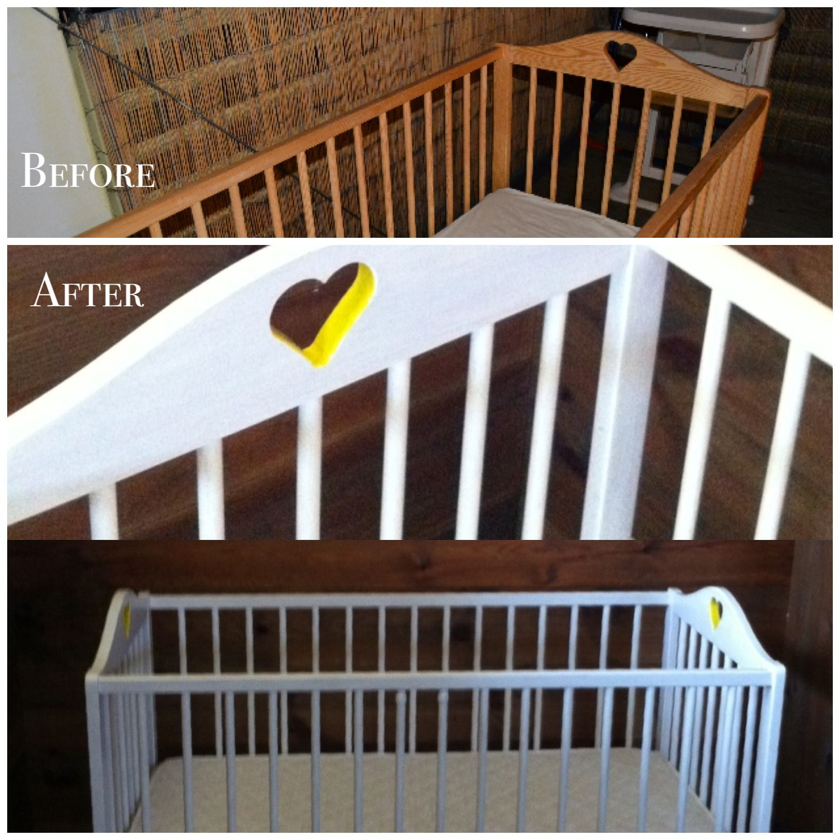 DIY baby crib makeover. Before & after.