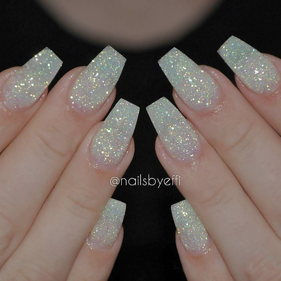 White matte nails with diamond glitter @nailsbyeffi Repost ...