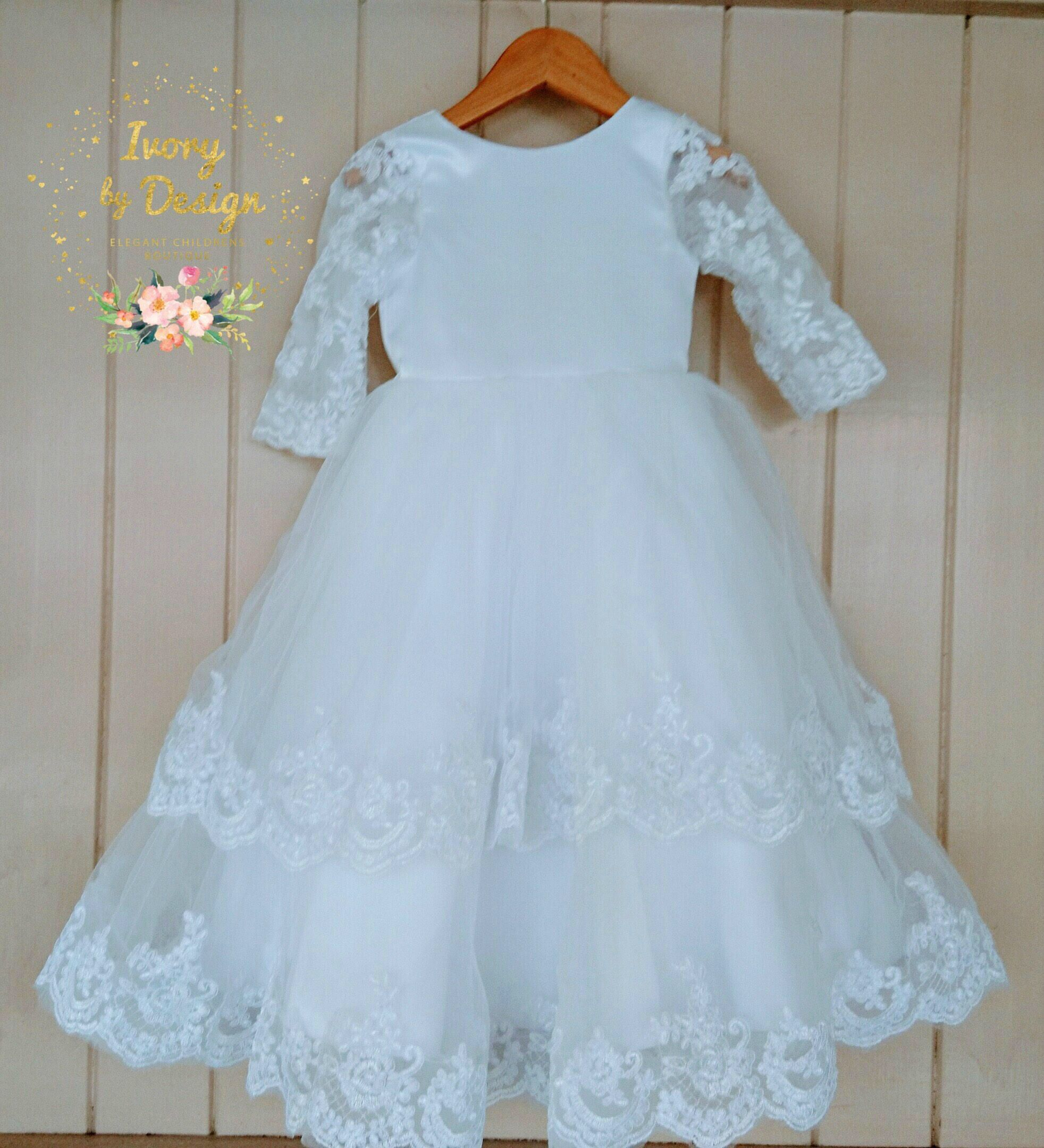 White Lace long Sleeve Flower Girl Tulle Satin Dress Baby Baptism