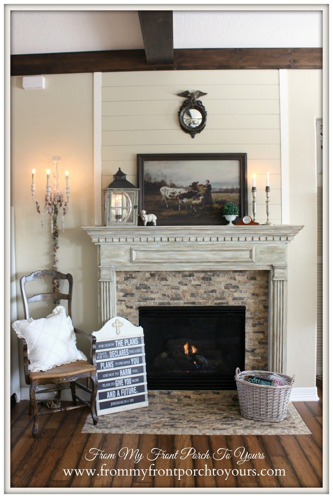 French Country Mantel | Diy wood, Front porches and Mantels