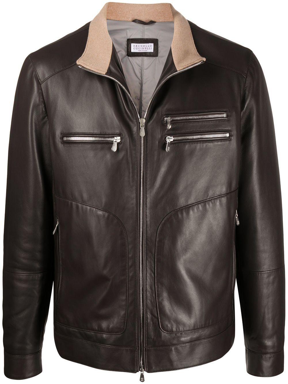 Brunello Cucinelli Padded Leather Jacket Farfetch Leather Jacket Jackets Brown Leather Jacket [ 1334 x 1000 Pixel ]