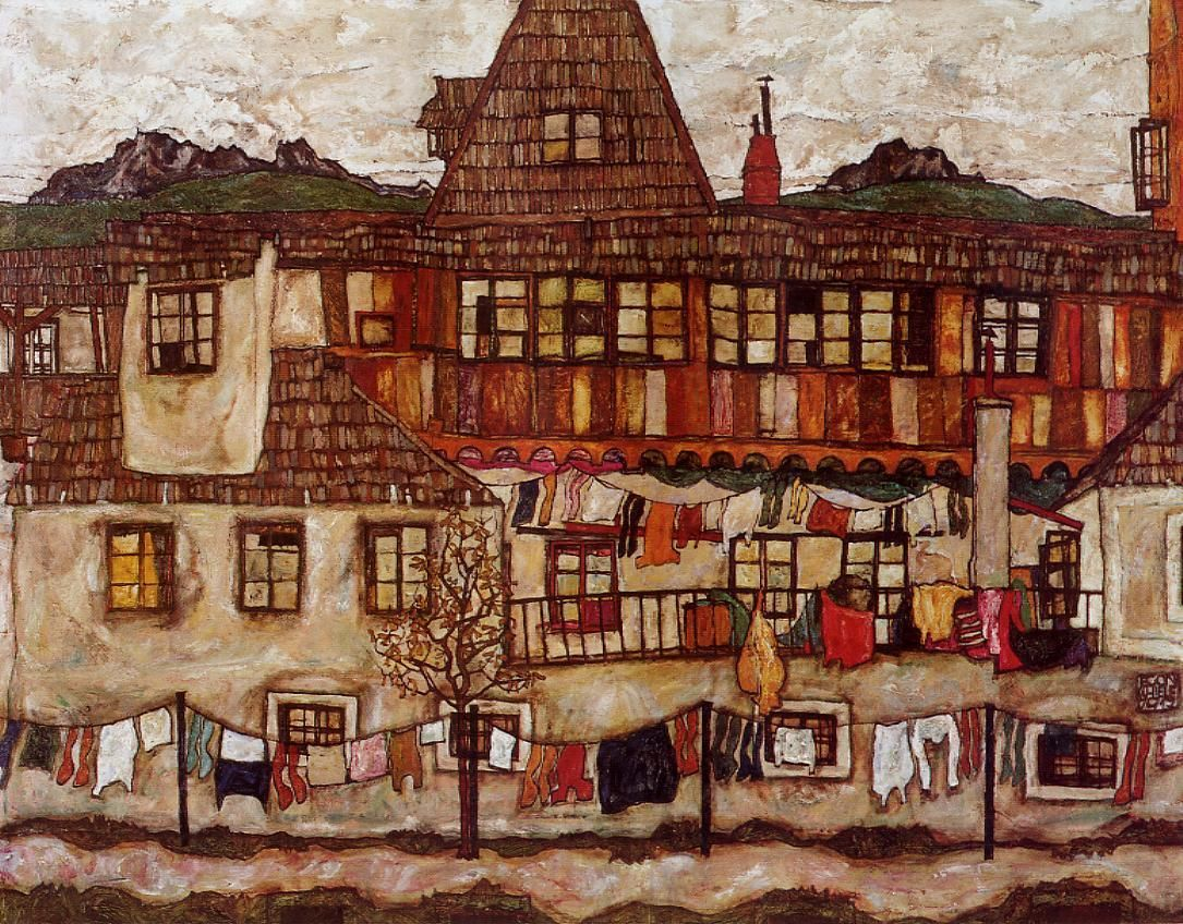 "egon schiele / house with drying laundry completion date 1917 / vienna, austria ""Schiele's townscapes are compositionally poised between a symbolic treatment and the more formal contrast of the cubic, geometrical architecture and the colorful, organic shapes of the natural surroundings."""