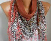 ON SALE -Cotton Weddings Scarves - Cowl with Lace Edge - Burnt Umber