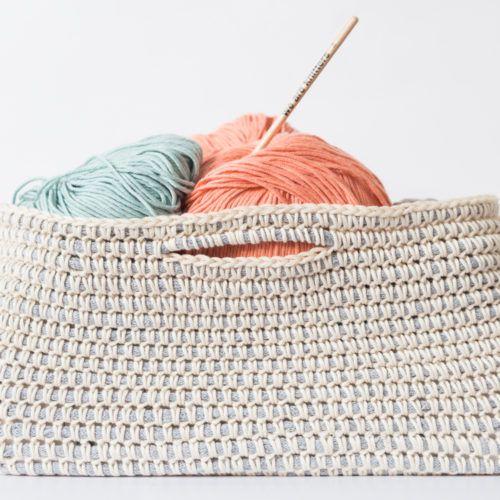 Patrón gratuito: Teje una cesta de algodón | Patrones y Bolsos