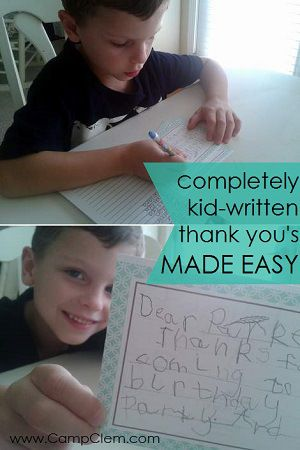 Kid-written thank you notes made easy