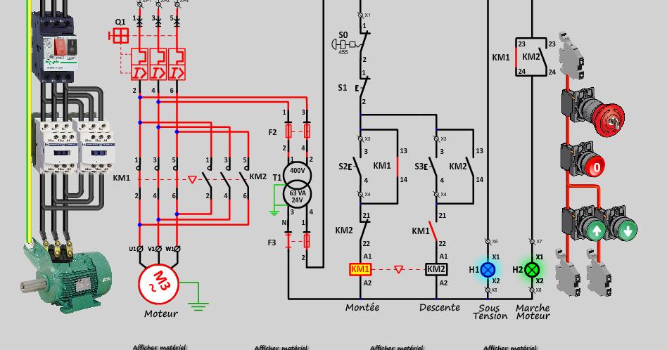 le d marrage direct d 39 un moteur asynchrone 2 sens de marche en animation electrique. Black Bedroom Furniture Sets. Home Design Ideas