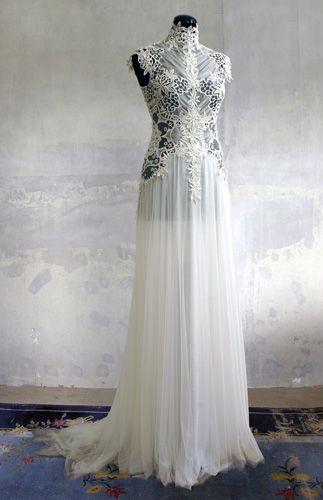 Remshardt-hochgeschlossenes Couture Brautkleid Hochzeitskleid aus ...
